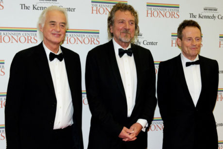 WASHINGTON, DC - DECEMBER 1: (L-R) Jimmy Page, Robert Plant, and John Paul Jones of Led Zepplin arrive for a dinner for Kennedy honorees hosted by U.S. Secretary of State Hillary Rodham Clinton at the U.S. Department of State on December 1, 2012 in Washington, DC. The 2012 honorees are Buddy Guy, actor Dustin Hoffman, late-night host David Letterman, dancer Natalia Makarova, and members of the British rock band Led Zeppelin Robert Plant, Jimmy Page, and John Paul Jones. (Photo by Ron Sachs - Pool/Getty Images)