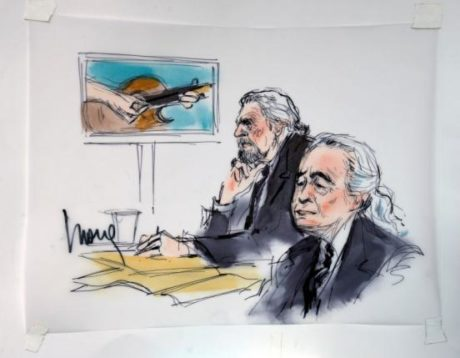 """Led Zeppelin singer Robert Plant (L) and guitarist Jimmy Page are shown sitting in federal court for a hearing in a lawsuit involving their rock classic song """"Stairway to Heaven"""" in this courtroom sketch in Los Angeles, California June 14, 2016. REUTERS/Mona Edwards"""