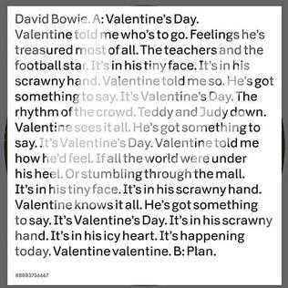 """DAVID BOWIE : """"VALENTINE DAY"""", SU CURIOSO DÍA DE LOS ENAMORADOS"""